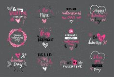 Logos de Valentine Day Lettering Design Set, labels et collection tirés par la main d'autocollants illustration stock