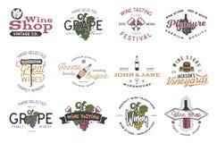 Logos de vin, ensemble de labels L'établissement vinicole, boutique de vin, vignobles badges la collection Rétro symbole de boiss Illustration de Vecteur