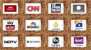Logos dei canali di notizie famosi superiori e delle reti della TV Fotografia Stock Libera da Diritti