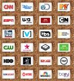 Logos dei canali televisivi e delle reti famosi superiori Fotografie Stock
