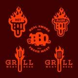 Logos della griglia del Bbq illustrazione di stock