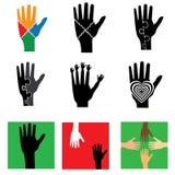Logos della mano Fotografie Stock Libere da Diritti