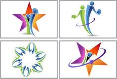 Logos della stella della gente Fotografia Stock