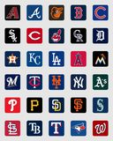 Logos delle insegne del cappuccio di Major League Baseball illustrazione di stock