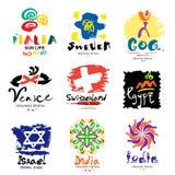 Logos in den verschiedenen Ländern Eine Reise auf der ganzen Welt Stockfotos