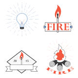 Logos depicting fire and light Royalty Free Stock Photo