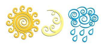Logos der Sonne und des Mondes Stockfotos