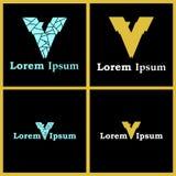 Logos des Buchstabe-V mit Smart versteckter Nr. sieben Stockfotos