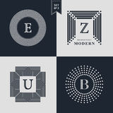 Logos Design Templates Set. Logotypes elements collection, Icons Symbols, Retro Labels, Badges, Silhouettes. Abstract logo, Letter. E, Z, U, B emblems. Premium Stock Photos