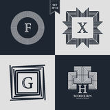 Logos Design Templates Set. Logotypes elements collection, Icons Symbols, Retro Labels, Badges, Silhouettes. Abstract logo, Letter. F, X, G, H emblems. Premium Royalty Free Stock Images