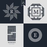 Logos Design Templates Set. Logotypes elements collection, Icons Symbols, Retro Labels, Badges, Silhouettes. Abstract logo, Letter. R, M, E emblems. Premium Royalty Free Stock Photo