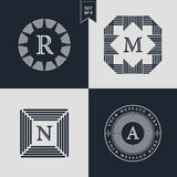 Logos Design Templates Set. Logotypes elements collection, Icons Symbols, Retro Labels, Badges, Silhouettes. Abstract logo, Letter. R, M, N, A emblems. Premium Stock Photos