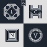 Logos Design Templates Set. Logotypes elements collection, Icons Symbols, Retro Labels, Badges, Silhouettes. Abstract logo, Letter. T, C, N, V emblems. Premium Stock Photography