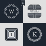 Logos Design Templates Set. Logotypes elements collection, Icons Symbols, Retro Labels, Badges, Silhouettes. Abstract logo, Letter. W, T, K emblems. Premium Stock Images
