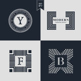 Logos Design Templates Set. Logotypes elements collection, Icons Symbols, Retro Labels. Badges, Silhouettes. Abstract logo, Letter Y, F, B emblems. Premium Stock Photography