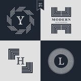 Logos Design Templates Set. Logotypes elements collection, Icons Symbols, Retro Labels. Badges, Silhouettes. Abstract logo, Letter Y, H, L emblems. Premium Royalty Free Stock Images