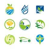 Logos di ecologia dell'ambiente della foglia della natura bio- Immagine Stock Libera da Diritti