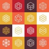 Logos di esagono di vettore ed elementi lineari di progettazione Fotografie Stock