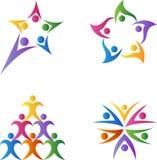Logos di lavoro di squadra Fotografie Stock Libere da Diritti