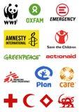 Logos di organizzazioni non governative Immagine Stock Libera da Diritti