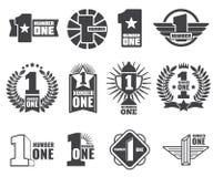 Logos di vettore di numero uno messo Fotografie Stock Libere da Diritti