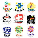 Logos in different countries. A trip around the world. Stock Photos