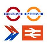 Logos du système de transport de Londres illustration stock