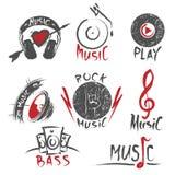 Logos ed emblemi disegnati a mano di musica illustrazione di stock
