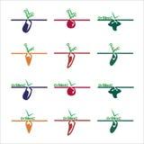 Logos ed etichette organici delle verdure illustrazione di stock