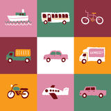 Logos ed icone di trasporto messi Immagini Stock