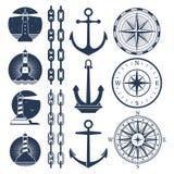 Logos ed insieme di elementi nautici - faccia il giro delle catene d'ancoraggio dei fari illustrazione di stock