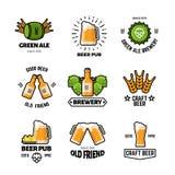 Logos et emblèmes de vecteur de bar de bière Labels de vintage d'affaires de brasserie et de brassage Images stock