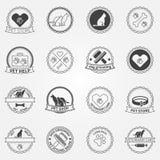 Logos et insignes noirs de chats d'american national standard de chien Photo libre de droits