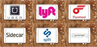 Logos et marques d'application de taxi Photographie stock libre de droits