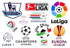 Logos of European football leagues. Kiev, Ukraine - February 11, 2016: Logos of European football leagues printed on paper stock illustration