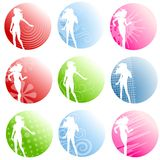 Logos femelles de silhouette d'Artsy Photos stock