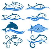 Logos of fish with wave. A set of logos with fish and blue wave Royalty Free Stock Photography