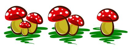 Logos of forest mushrooms. Logos of forest mushrooms with green grass Royalty Free Stock Images