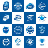 Logos for frozen products. Large set of vector logos for frozen products stock illustration