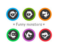 Logos with funny monsters Royalty Free Stock Image