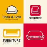 Logos for furniture store. Sofa and chair icons. Vector illustration royalty free illustration