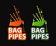 Logos with Great Highland Bagpipes. In Red and Green color isolated on white with style caption Royalty Free Stock Photo