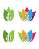 Logos of green leaf ecology nature element vector icon Royalty Free Stock Images