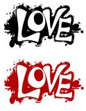 Logos grunges ou drapeaux d'éclaboussure d'encre d'amour Images libres de droits