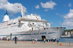 Logos Hope docked at the Keelung. KEELUNG, TAIWAN - August 26th : Logos Hope docked at the Keelung, Keelung, Taiwan on August 26th , 2014. Logos Hope is the royalty free stock photo