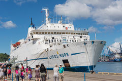 Logos Hope docked at the Keelung. KEELUNG, TAIWAN - August 26th : Logos Hope docked at the Keelung, Keelung, Taiwan on August 26th , 2014. Logos Hope is the royalty free stock images
