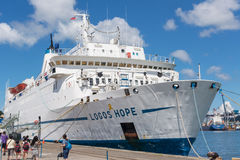 Logos Hope docked at the Keelung. KEELUNG, TAIWAN - August 26th : Logos Hope docked at the Keelung, Keelung, Taiwan on August 26th , 2014. Logos Hope is the stock image