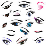 Logos and icons set of eyes. Royalty Free Stock Photos