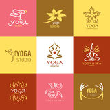Logos and Icons set for yoga studio or meditation class Royalty Free Stock Image