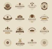 Logos, insignes et labels de boutique de boulangerie Photos libres de droits
